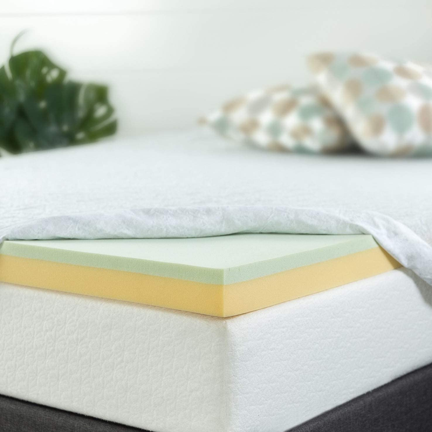Topper Tấm Tiện Nghi Trà Xanh Gel Mát Làm Mềm Nệm Cao Cấp Zinus - Green Tea Memory Foam 160*200*7.5cm