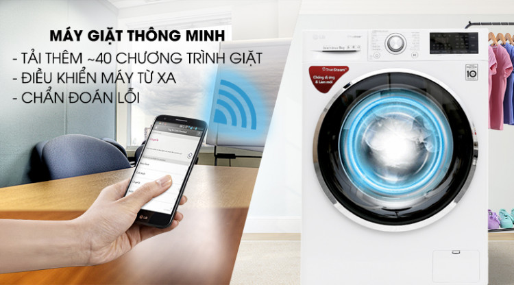 Chẩn đoán thông minh qua điện thoại - Máy giặt LG Inverter 9 kg FC1409S2W