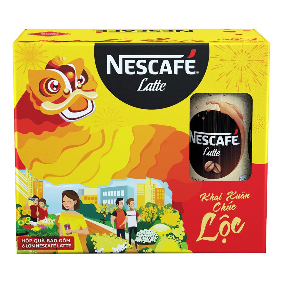 Hộp Quà Tết Cà phê uống liền NESCAFÉ Latte Hộp 6 lon x 180ml