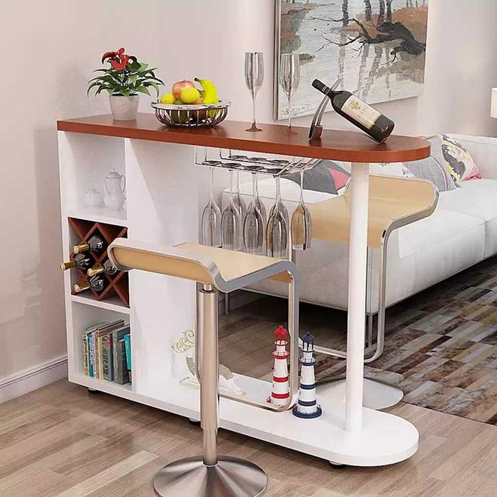 Quầy Bar Mini Gỗ, Bàn Bếp Cao Cấp Có Ngăn Tủ Để Đồ Decor Đẹp - Giao màu ngẫu nhiên