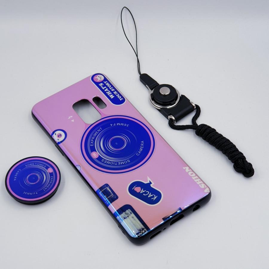 Ốp lưng hình máy ảnh kèm giá đỡ và dây đeo dành cho Samsung Galaxy S7,S7 Edge,S8,S8 Plus,S9,S9 Plus,S10,S10 Plus - Samsung Galaxy S9 - Hồng
