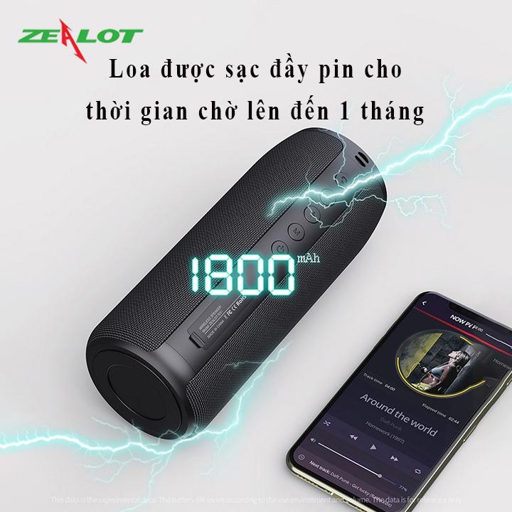 Loa bluetooth Zealot nghe nhạc không dây hàng chính hãng âm bass siêu trầm tặng kèm 1 móc khóa chữ Bamboo