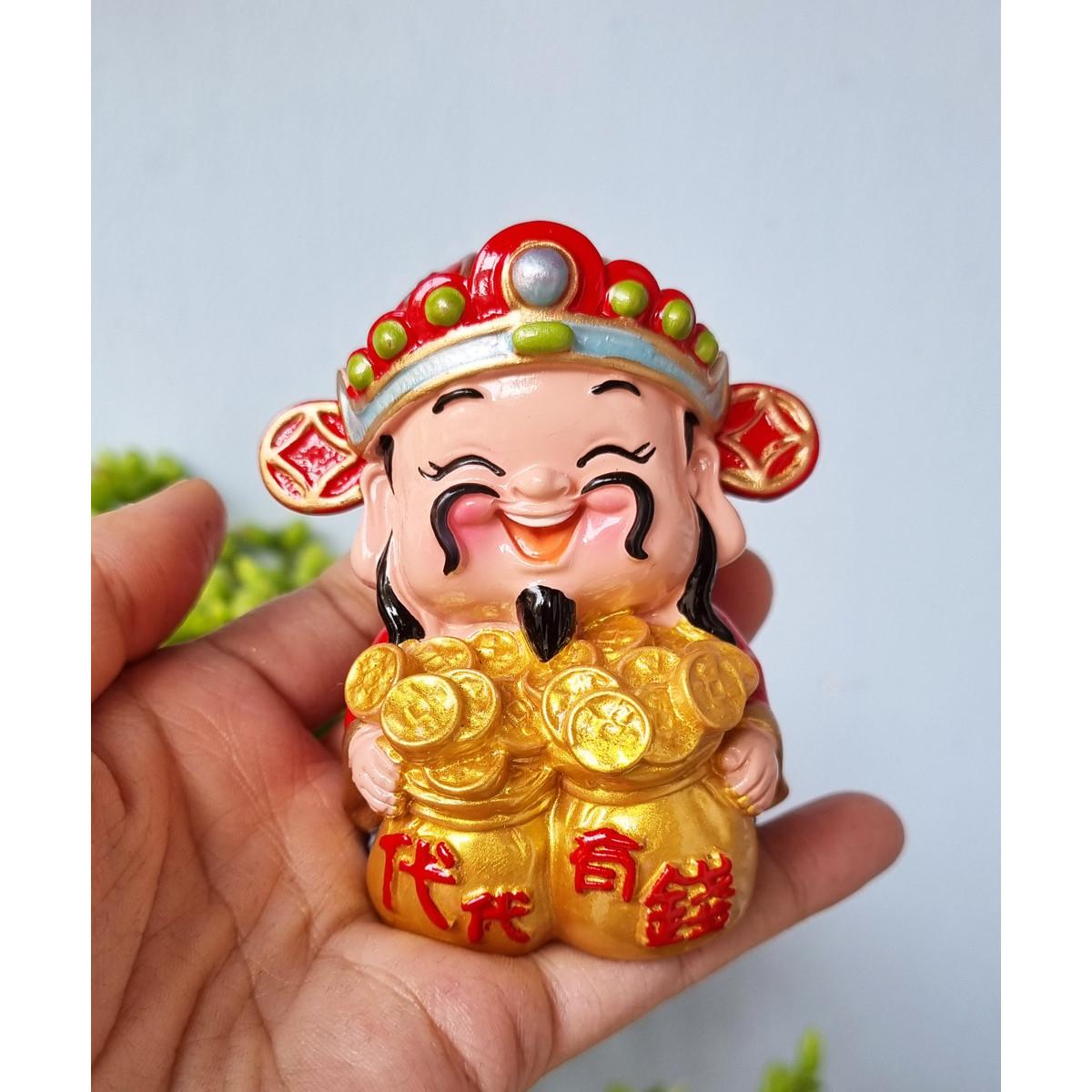 Tượng Thần Tài 7cm ôm túi tiền vàng