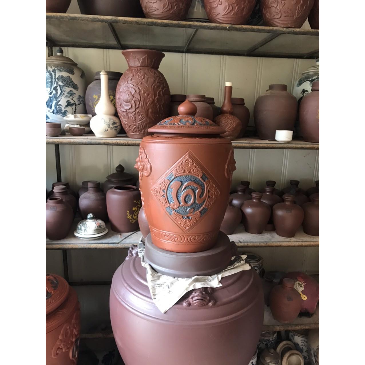 Hũ Sànhca đựng rượu gạo gốm sứ Bát Trang loại 15L( 10Kg gạo)