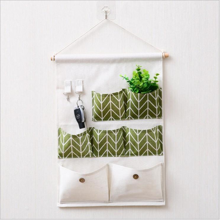 Túi đựng đồ đa năng treo tường 7 ô kèm 2 móc treo tiết kiệm diện tích vải canvas bền đẹp - được chọn màu