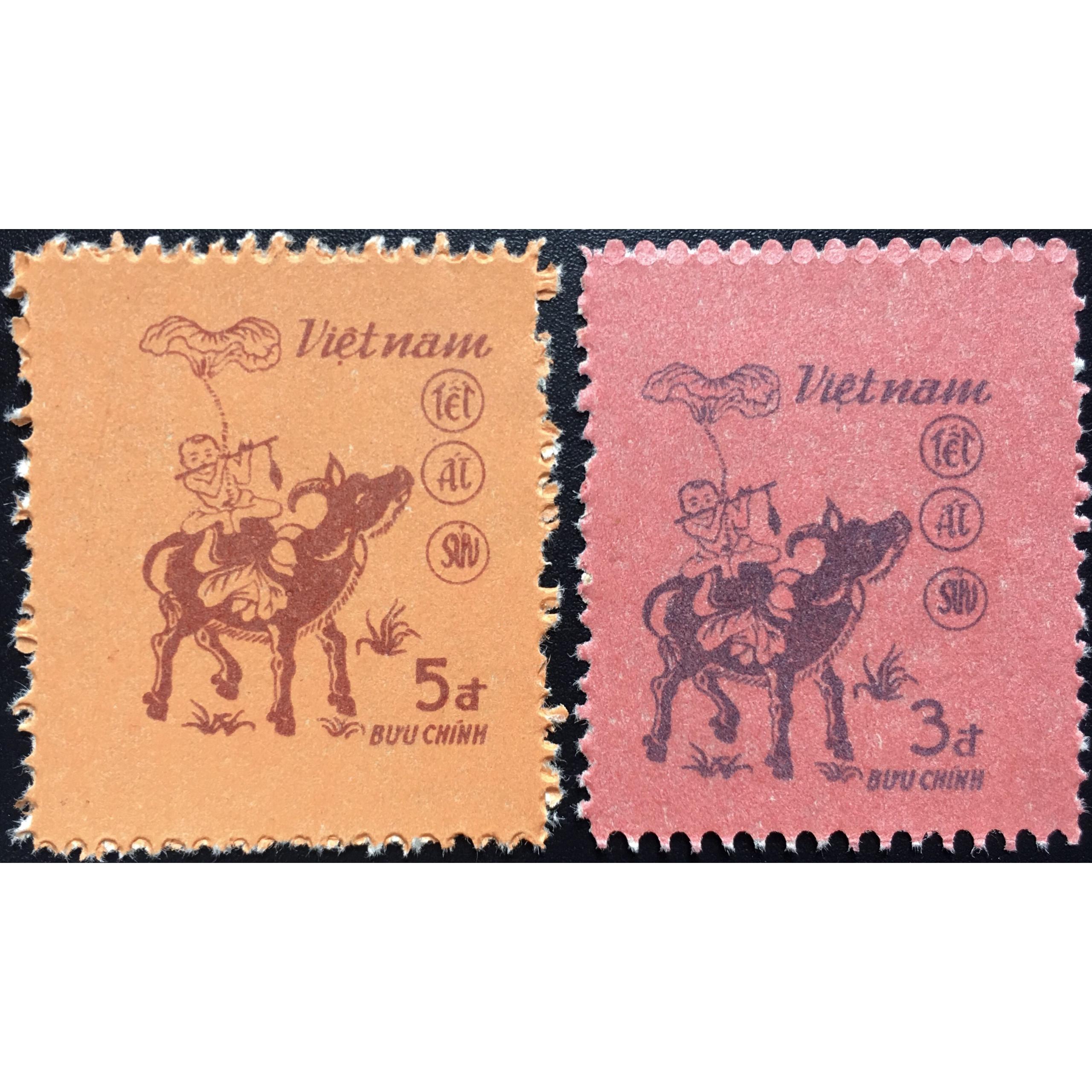 Bộ Tem Sưu Tầm Việt Nam Chủ Đề Tết Ất Sửu - 2 Con Stamp