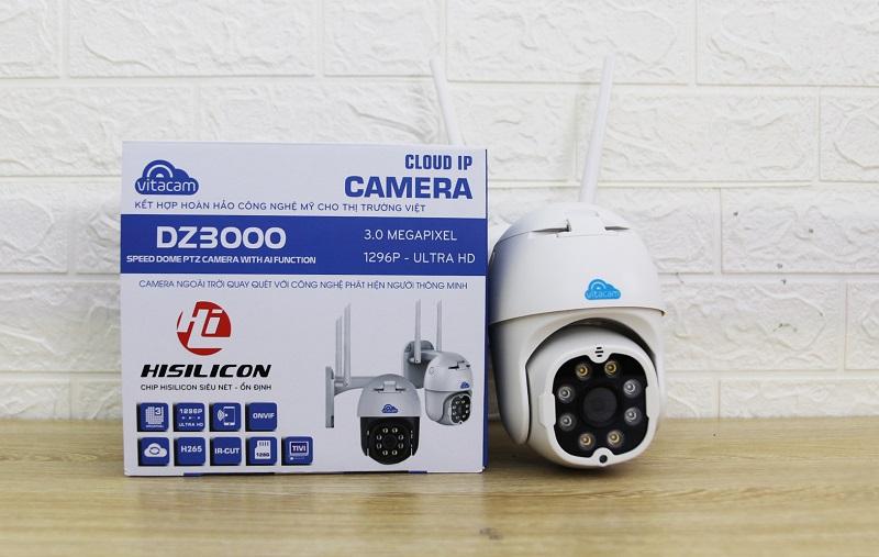 Camera IP Wifi ngoài trời VITACAM DZ3000 PTZ xoay 355 độ, 3.0Mpx 1296P hình ảnh ULTRA HD siêu nét + Thẻ nhớ 64G - hàng nhập khẩu