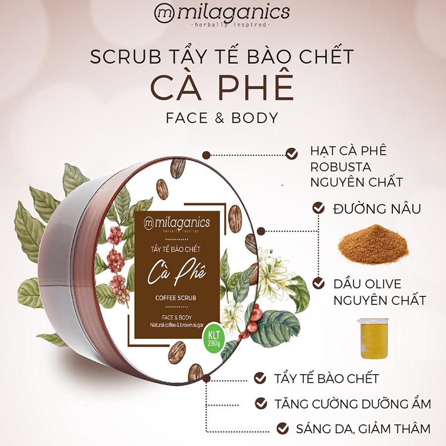 Combo Body Sáng Mịn Sạch Da Milaganics: Sữa Tắm Nha Đam Milaganics 280ml +  Tẩy Da Chết Cà phê Milaganics 280g - Bộ sản phẩm chăm sóc cơ thể |  MuaDoTot.com