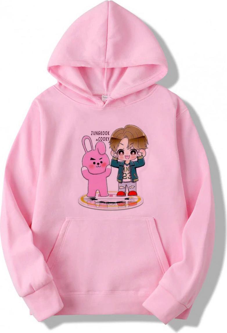 Áo hoodie nữ Chibi JungKook Và Cooky - Hồng - XL