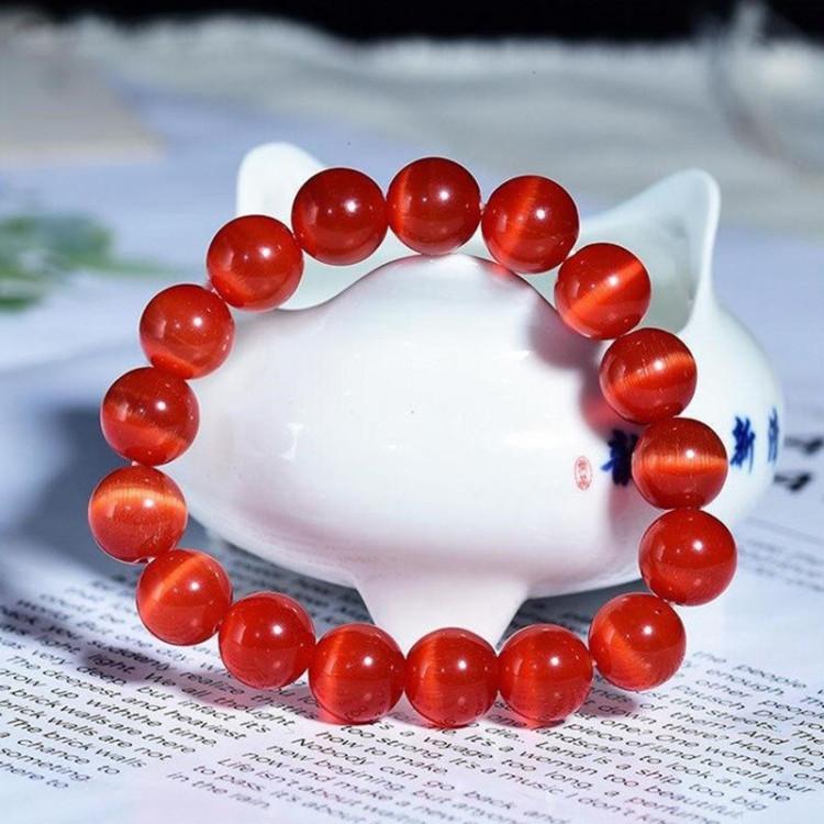 Vòng tay đá Opal mắt mèo đỏ 10ly - Vòng tay phong thủy cho người mệnh Hỏa, Thổ TTB-VTO4 1