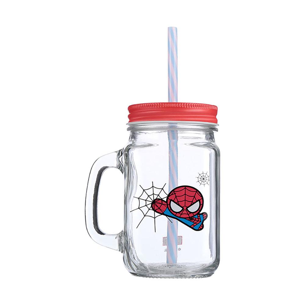 Cốc thuỷ tinh Miniso Jar Mug có nắp đậy kèm ống hút 470ml - Hàng chính hãng