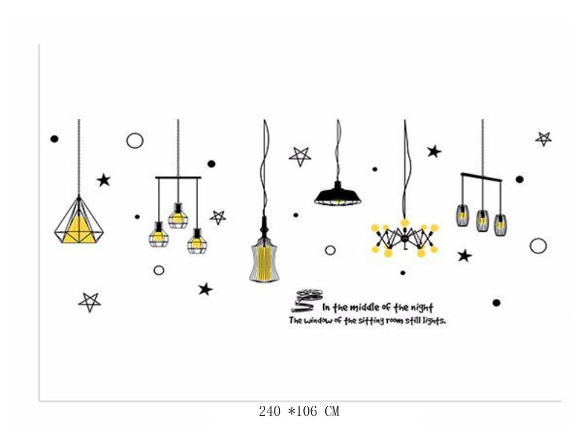 decal dán tường đèn vàng xl8268
