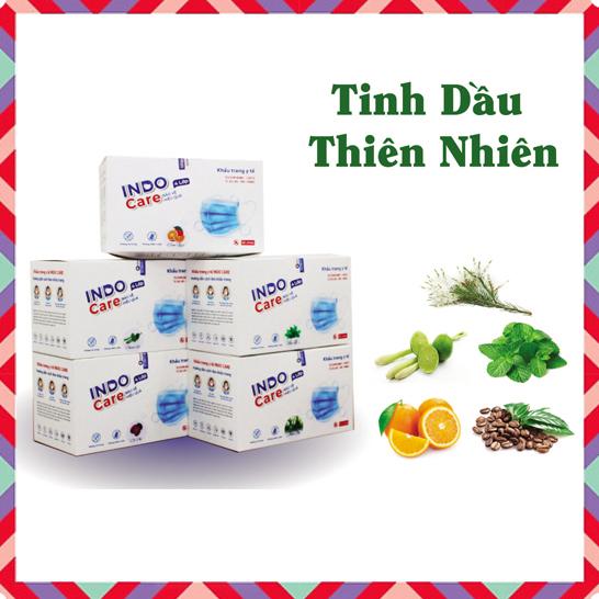 COMBO 5 HỘP KHẨU TRANG INDO CARE - Tinh Dầu Thiên Nhiên (Tặng thêm 1 hộp khẩu trang + 1 chai nước rửa tay)