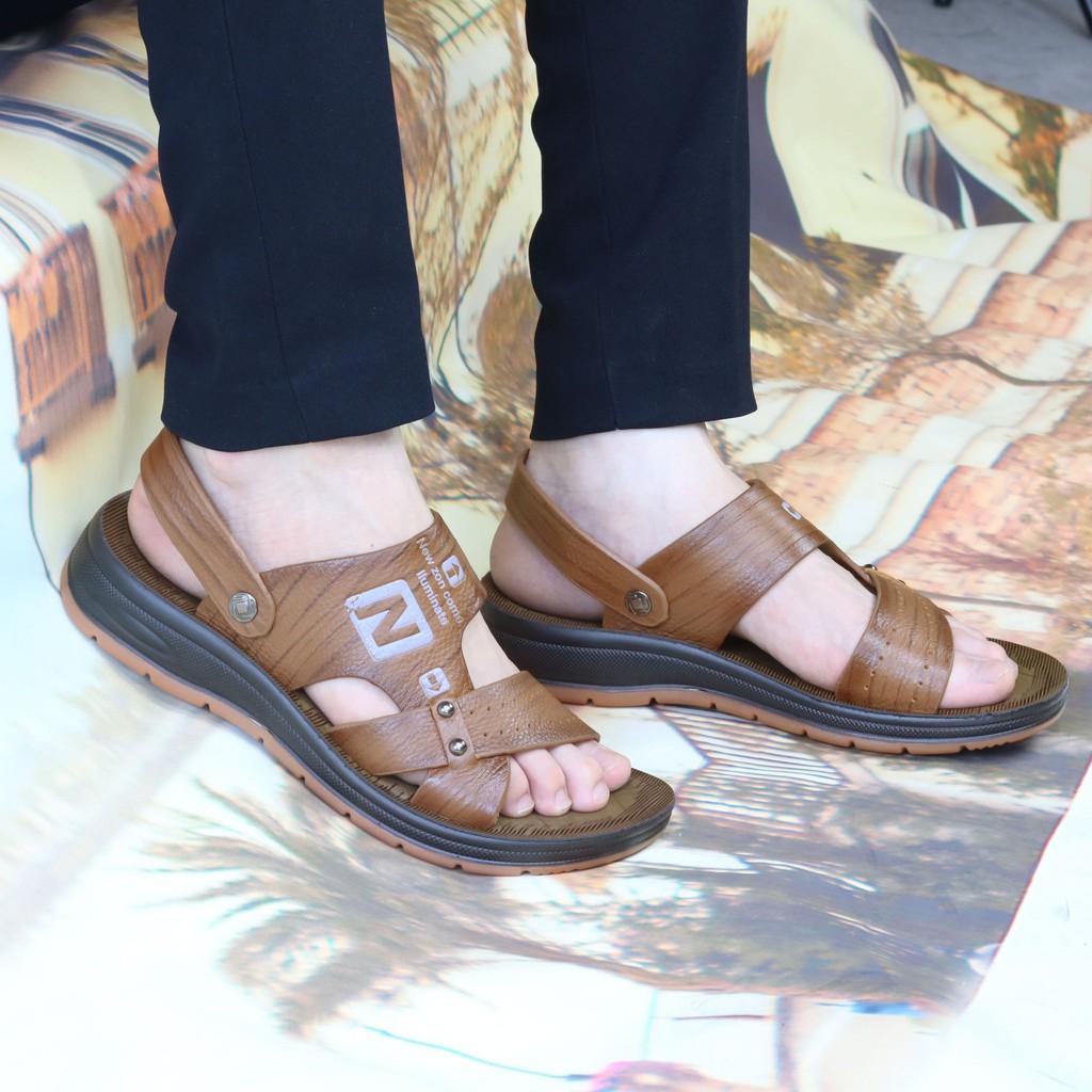 Sandal nam da bò cao cấp đế kếp cao 3.5 cm SD89 HT.NEO