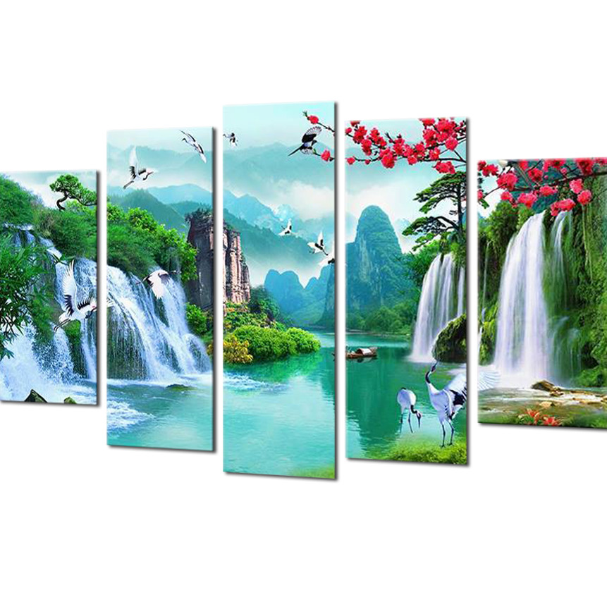 Tranh treo Tường Thác nước sơn thủy ST904547- Tranh treo tường 3D - 1.5 mét