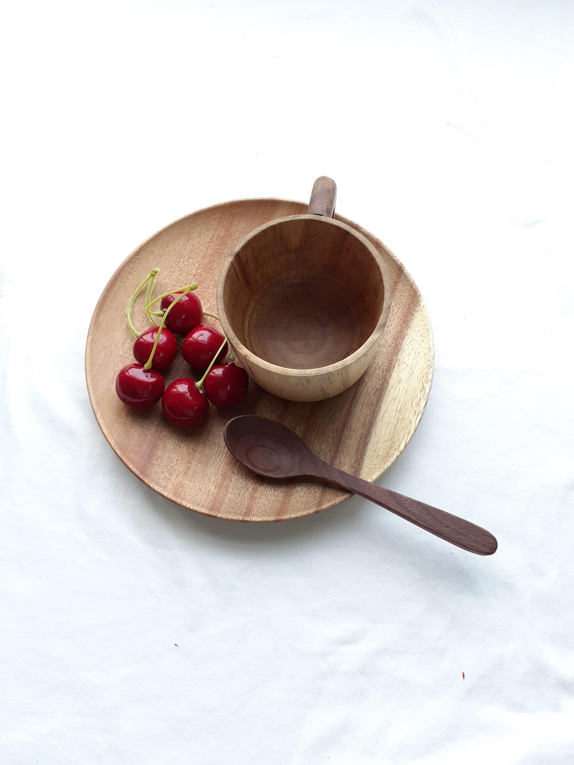 Khay, đĩa gỗ KEO tròn 18 cm lót bát, ly, cốc, đựng hoa quả, đồ ăn ( ĐG 05 )