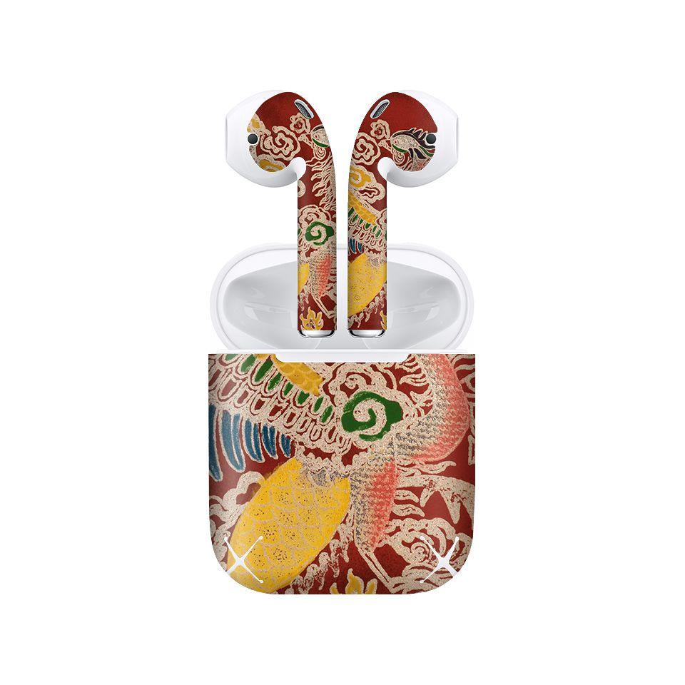 Miếng dán skin chống bẩn cho tai nghe AirPods in hình Phượng Bào Triều Nguyễn 2 - lsm039 (bản không dây 1 và 2)