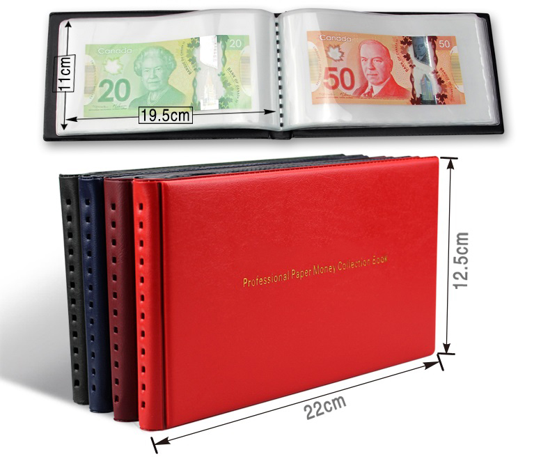 Album đựng tiền giấy Mini PASA 1 ngăn nền trắng gồm 20 tấm phơi, đựng được 40 tờ tiền [màu ngẫu nhiên]