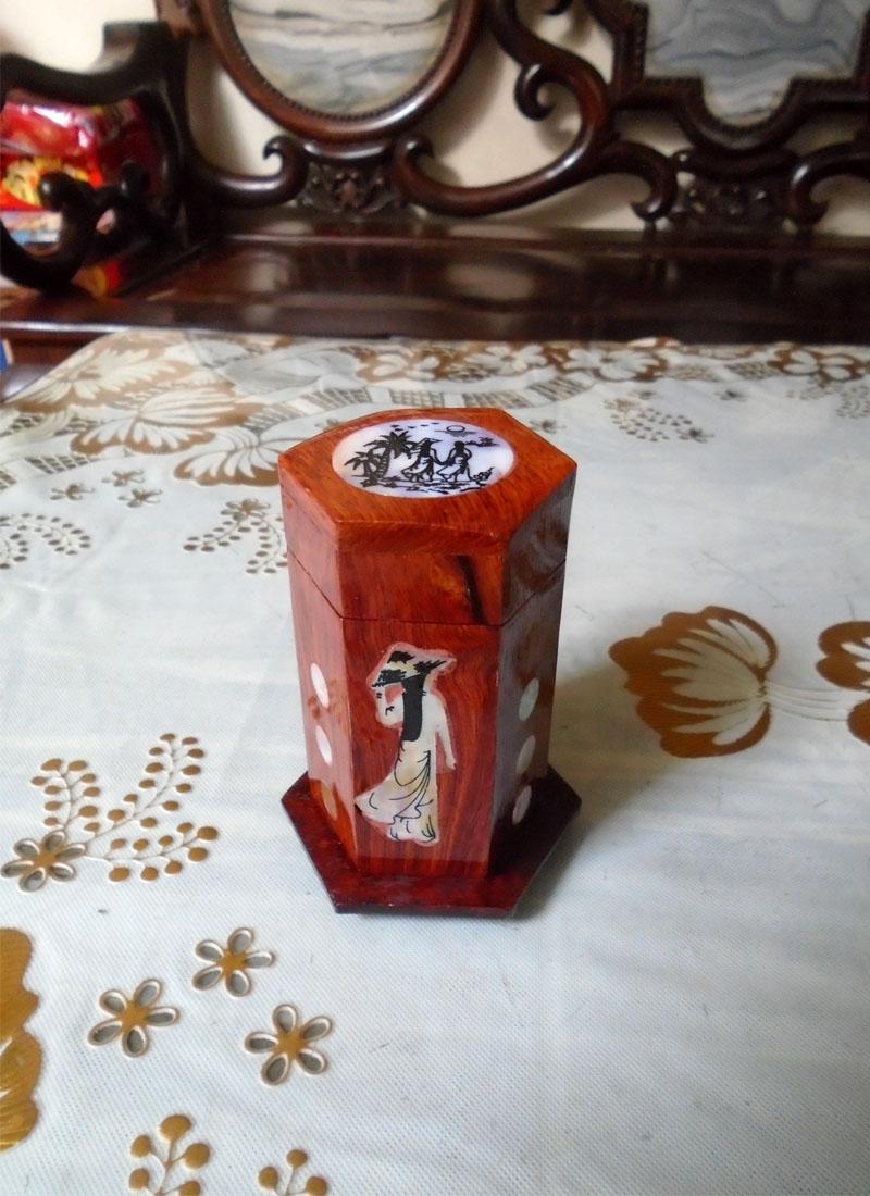 Bộ 3 món tiện ích bằng gỗ hương đỏ hộp Trà lớn,hộp khăn giấy chữ nhật,hộp tăm CO3MTL