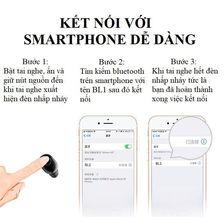 Tai Nghe Nhét Tai ️️ Tai Nghe Bluetooth Nhỏ Gọn, Thời Trang - Tai Nghe BL1 Có Dock sạc 700mAh Sạc Mọi Nơi