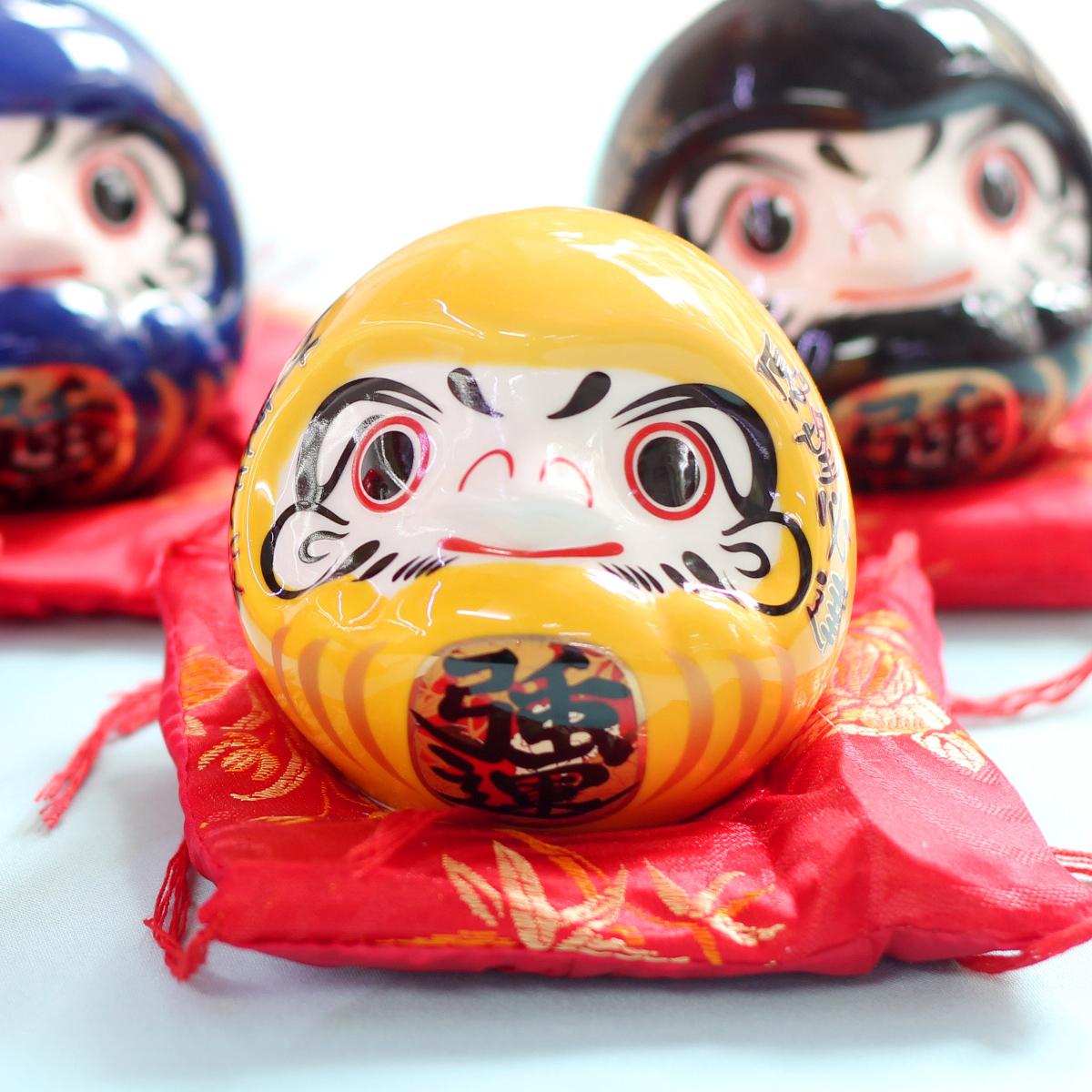 Daruma sứ đựng tiền 7cm giá lẻ 1 sản phẩm - Vàng