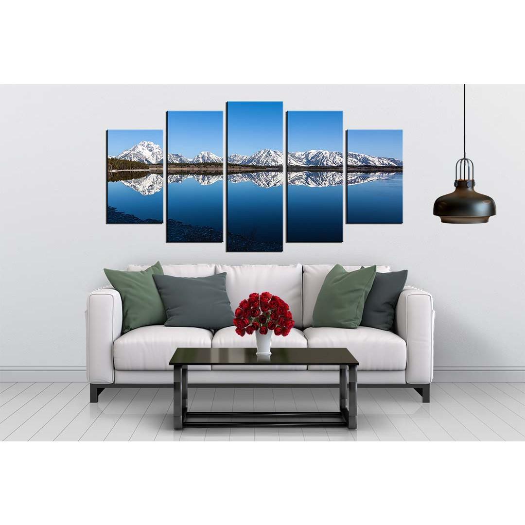 Bộ 5 tranh canvas treo tường phong cảnh núi tuyết - B5T002
