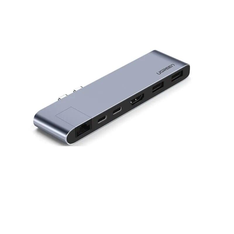 Bộ Chuyển Đổi 2 USB Type-C Sang Hdmi + 2*USB 3.0 Ports + Gigabit Lan + Type-C PD màu Gray Ugreen TC50984CM218 Hàng chính hãng.
