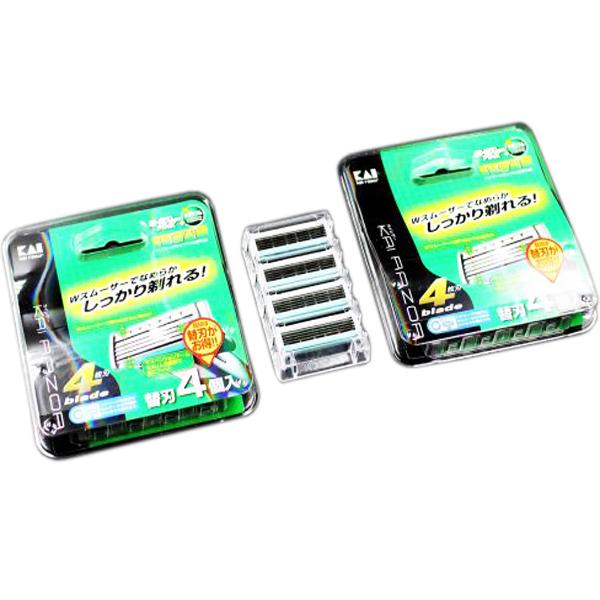 Set 4 Lưỡi Dao Thay Thế KAI (Dao 5 Lưỡi Kép, Hộp Xanh) Nội Địa Nhật Bản + Tặng Gói Trà Sữa Matcha / Cafe Macca 20g