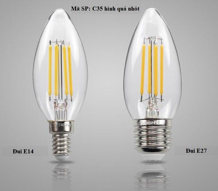 Bộ 5 bóng đèn Led Edison C35 4W hình quả nhót đui E14