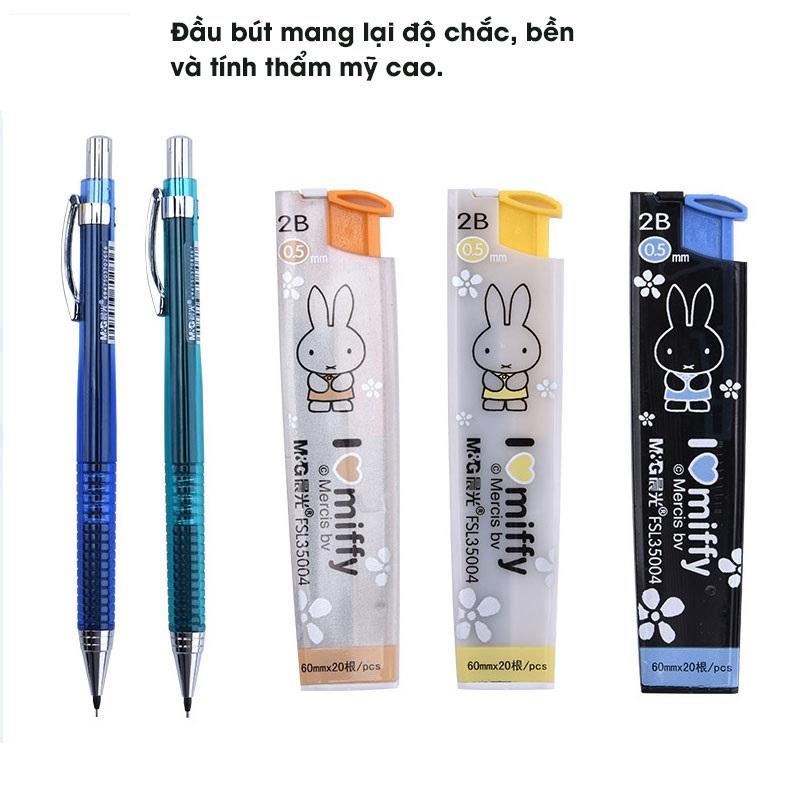 Bút chì kim bấm M&G MP0110A ngòi 0.5 mm, màu đỏ, xanh dương, xanh ngọc, vàng-1 cây