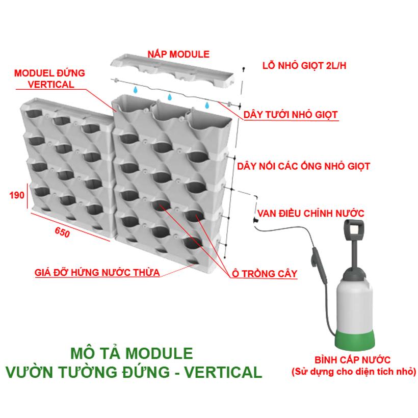 1m2 Module Trồng Cây Đứng Chung Cư Minigarden Vetical (8 Sets Module xếp chồng lên nhau), kèm Hệ Thống Tưới Nhỏ Giọt và tự bón phân bán tự động giúp cây trên tường đứng sống tốt, phát triển bền vững