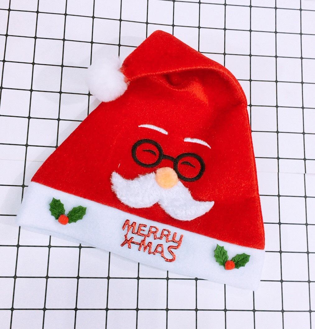 Mũ Noel Giáng Sinh có họa tiết nổi hình ông già noel đẹp