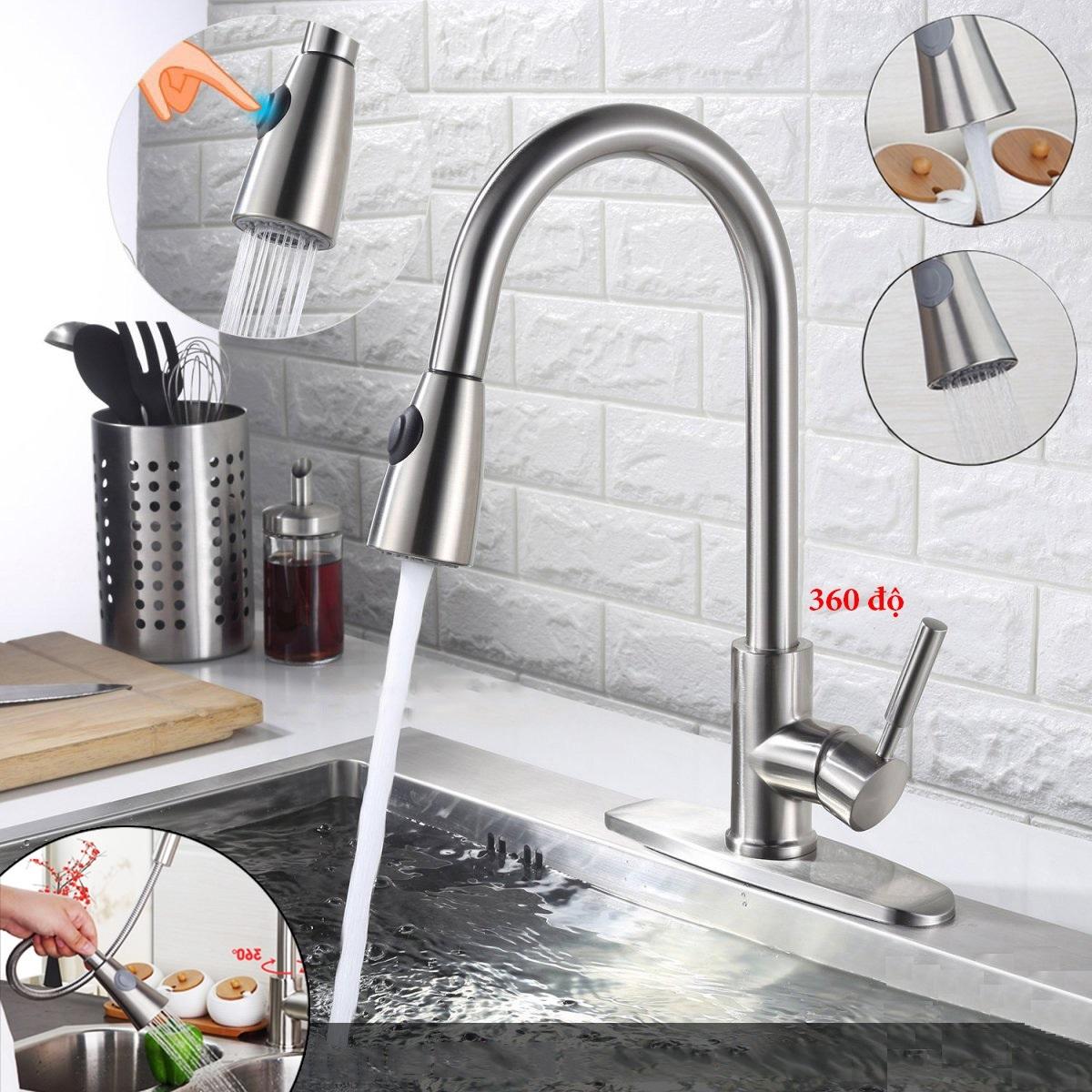 Vòi rửa chén , rửa bát huy tưởng có dây rút inox 304 tặng kèm dây cấp nước 2 chế độ cao cấp phù hợp với mọi gia đình