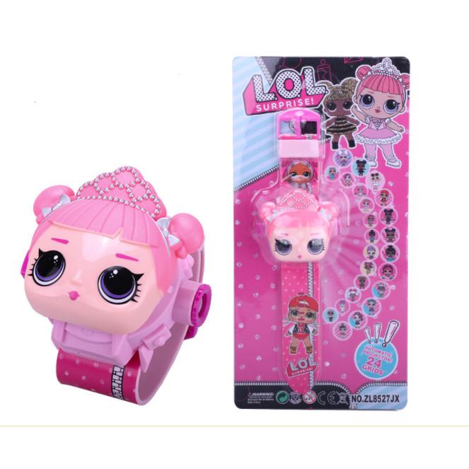 Đồng hồ điện tử đeo tay chiếu 24 hình công chúa LOL cho bé
