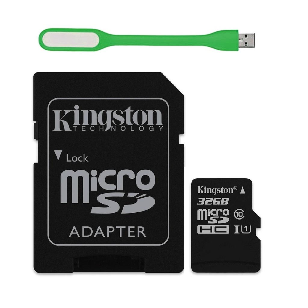 Thẻ Nhớ 32GB Micro SDHC Kingston Class 10 (Có Adapter) - Hàng Chính Hãng + Tặng Đèn Led