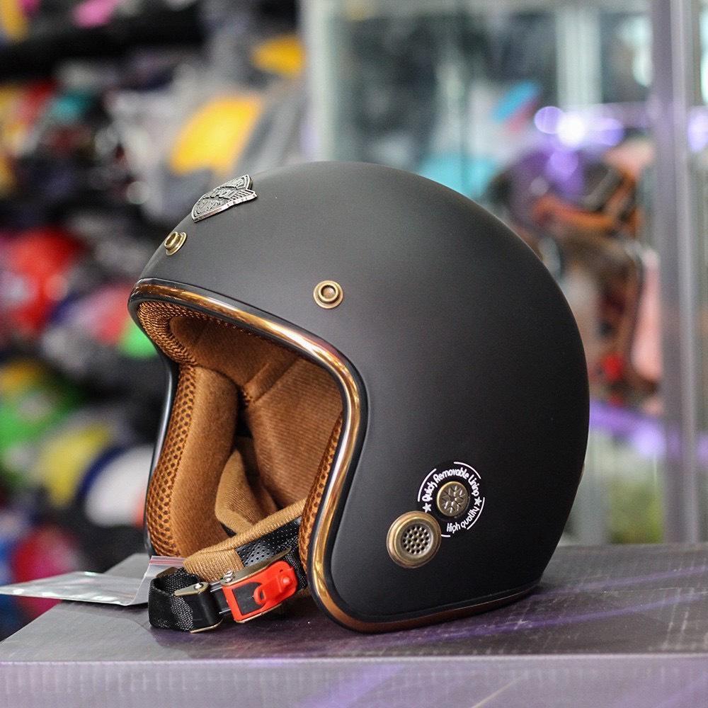 Mũ Bảo Hiểm ¾ Napoli Sh2 Ruby đen nhám lót nâu Free Size 55-58cm