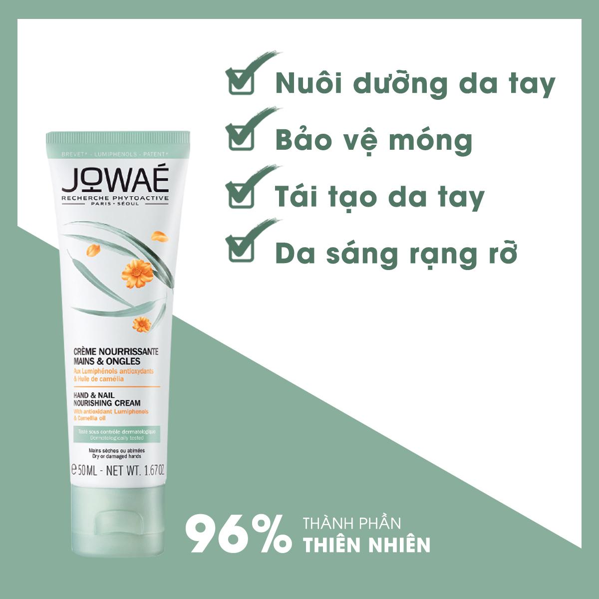 Kem dưỡng tay và móng JOWAE nuôi dưỡng, bảo vệ và tái tạo da mỹ phẩm thiên nhiên nhập khẩu từ Pháp HAND AND NAIL NOURISHING CREAM - 50ml