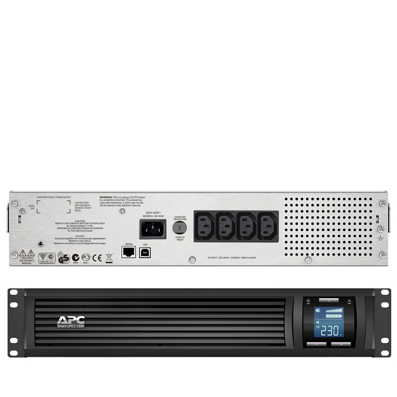 Bộ Lưu Điện: APC Smart-UPS C 1500VA LCD RM 2U 230V with SmartConnect - SMC1500I-2UC - Hàng Chính Hãng