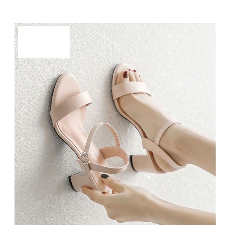 Giày Cao Gót Vuông 7cm Quai Ngang Hở Gót Da Mềm