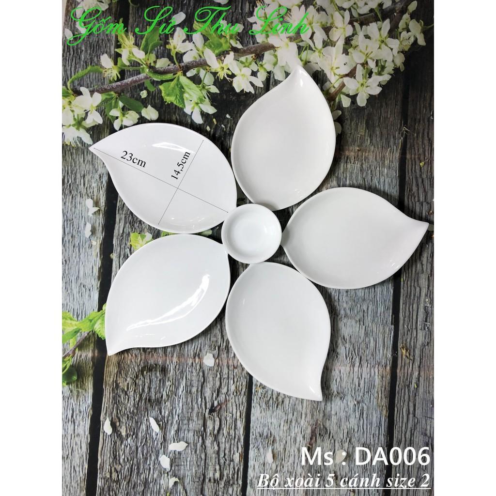 Bộ bát đĩa Bát Tràng hình lá xoài trắng trơn 2 size