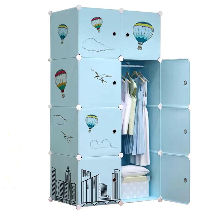 Tủ nhựa ghép 8 ngăn xanh da trời (47 x 74 x 148cm)