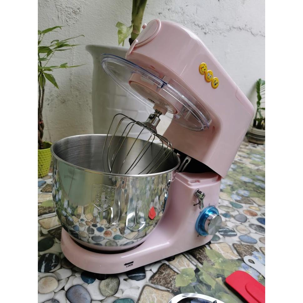 Máy trộn bột đánh bột đánh trứng đánh kem cao cấp màu hồng công suất mạnh 1500w dung tích 7L