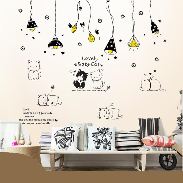 Decal dán tường chùm đèn và đàn mèo - HP204