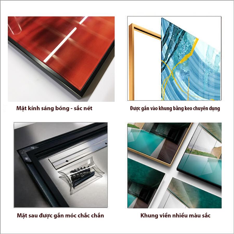 Tranh kính cường lực – Cây lá nhiệt đới GA159 - Kính cường lực 5mm - công nghệ in UV 3 lớp - khung viền composite - độ bền màu hơn 10 năm