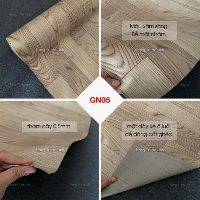 Thảm nhựa trải sàn PVC dán sàn giả gỗ bề mặt nhám khổ 1m nhiều màu đẹp trải phòng ngủ, phòng khách, kho hàng