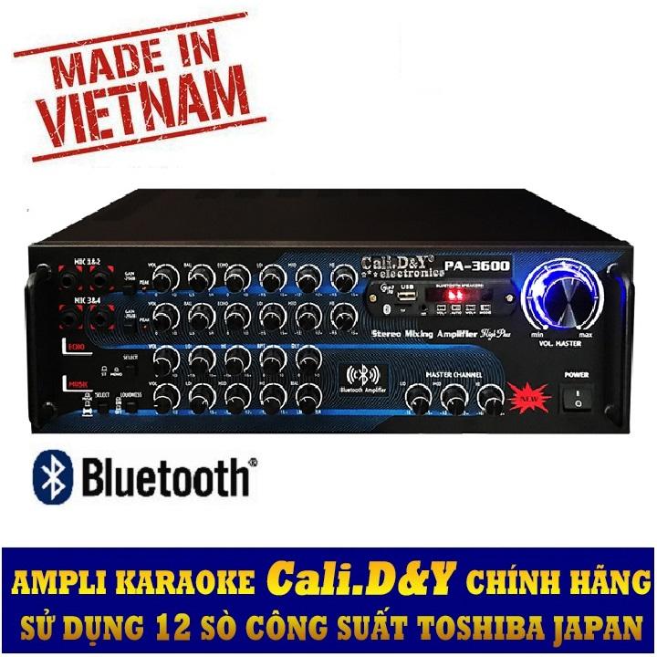 Amply Bluetooth Ampli Karaoke Gia đình 12 sò lớn Cali.D&Y PA-3600 - Hàng chính hãng