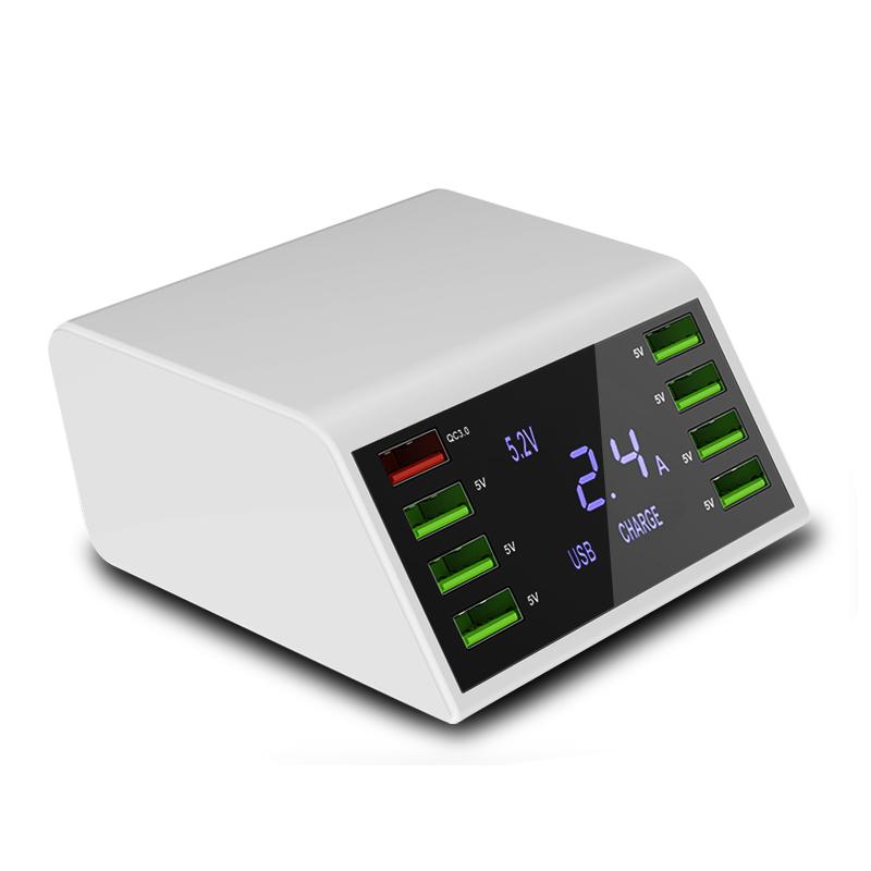 Trạm sạc di động để bàn 8 cổng thông minh, có 1 cổng sạc nhanh quick charge 3.0, có màn hình hiển thị LED báo sạc ILEPO838