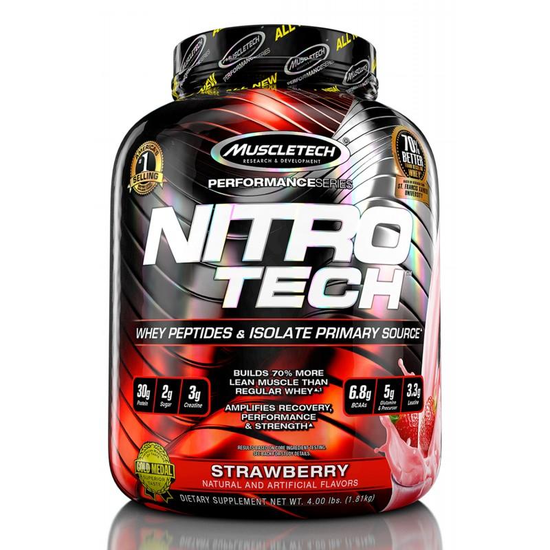 Sữa Tăng Cơ Nitro Tech 4lbs 1.81kg  Hỗ trợ tăng cơ, tăng sức mạnh và bổ sung nguồn Protein chất lượng cao hỗ trợ phát triển cơ bắp to  dày - Hàng chính hãng - Thương hiệu Muscletech - HƯƠNG VỊ DÂU - Q