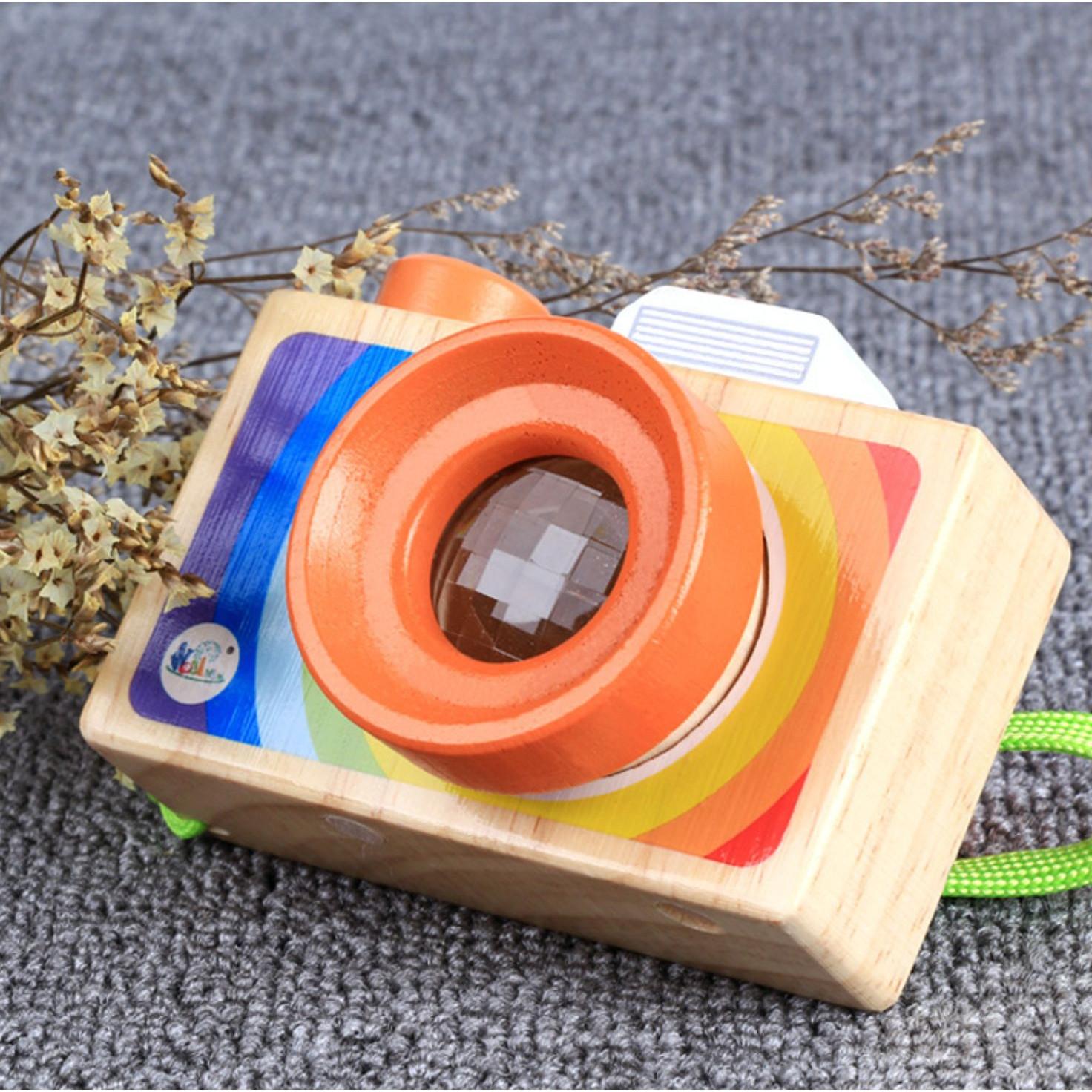 Đồ chơi máy ảnh bằng gỗ độc đáo cho bé - Máy ảnh có ống kính vạn hoa độc đáo
