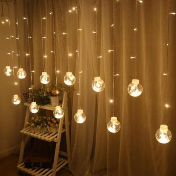 Đèn led trang trí dạng lưới bóng tròn 12 dây ( đèn đủ màu hoặc  vàng ấm )